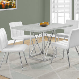 DINING TABLE – 36″X 48″ / GREY CEMENT / CHROME METAL