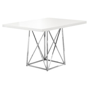 DINING TABLE – 36″X 48″ / WHITE GLOSSY / CHROME METAL