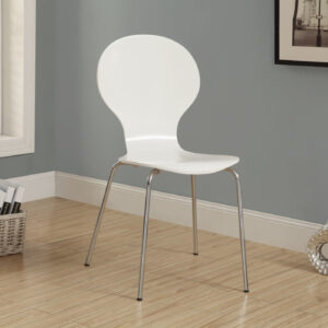DINING CHAIR – 4PCS / 34″H / WHITE BENTWOOD/ CHROME METAL