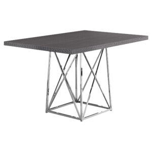 DINING TABLE – 36″X 48″ / GREY / CHROME METAL