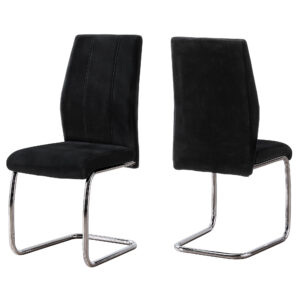DINING CHAIR – 2PCS / 39″H / BLACK VELVET / CHROME