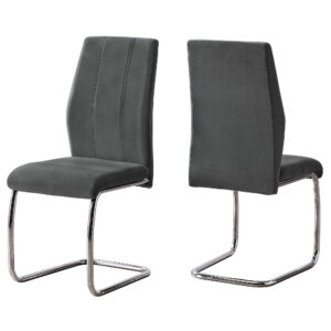 DINING CHAIR – 2PCS / 39″H / DARK GREY VELVET / CHROME
