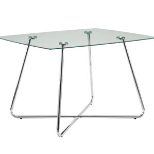 DINING TABLE – 36″X 48″ / CHROME WITH 8MM TEMPERED GLASS