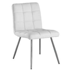 DINING CHAIR – 2PCS / 32″H / WHITE LEATHER-LOOK / CHROME