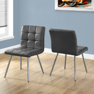 DINING CHAIR – 2PCS / 32″H / GREY LEATHER-LOOK / CHROME