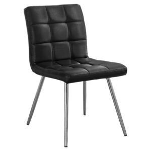 DINING CHAIR – 2PCS / 32″H / BLACK LEATHER-LOOK / CHROME