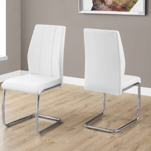 DINING CHAIR – 2PCS / 39″H / WHITE LEATHER-LOOK / CHROME