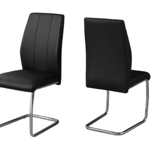 DINING CHAIR – 2PCS / 39″H / BLACK LEATHER-LOOK / CHROME