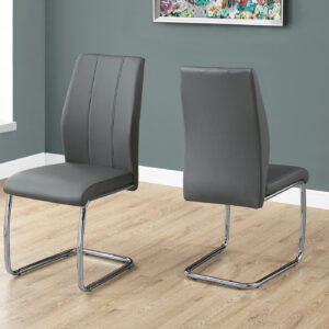 DINING CHAIR – 2PCS / 39″H / GREY LEATHER-LOOK / CHROME