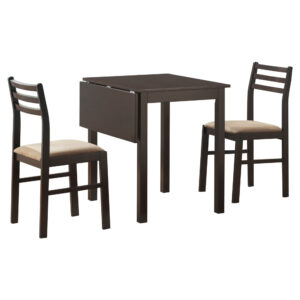 DINING SET – 3PCS SET / ESPRESSO SOLID-TOP DROP LEAF