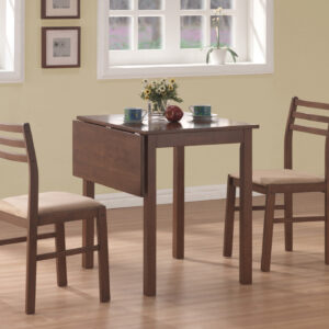 DINING SET – 3PCS SET / WALNUT SOLID-TOP DROP LEAF