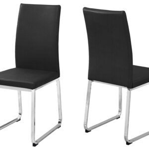 DINING CHAIR – 2PCS / 38″H / BLACK LEATHER-LOOK / CHROME
