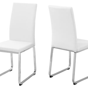 DINING CHAIR – 2PCS / 38″H / WHITE LEATHER-LOOK / CHROME