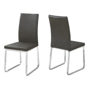 DINING CHAIR – 2PCS / 38″H / GREY LEATHER-LOOK / CHROME