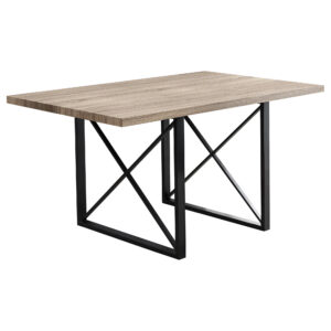 DINING TABLE – 36″X 60″ / DARK TAUPE / BLACK METAL