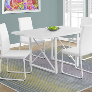 DINING TABLE – 36″X 60″ / WHITE GLOSSY / WHITE METAL
