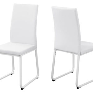 DINING CHAIR – 2PCS / 38″H / WHITE LEATHER-LOOK / WHITE