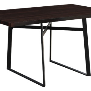 DINING TABLE – 36″X 60″ / ESPRESSO / BLACK METAL