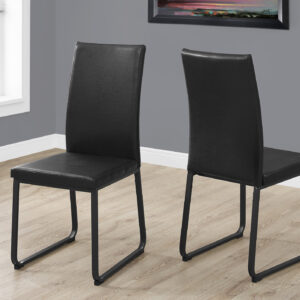 DINING CHAIR – 2PCS / 38″H / BLACK LEATHER-LOOK / BLACK