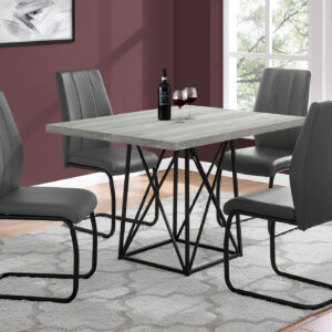 DINING TABLE – 36″X 48″ / GREY RECLAIMED WOOD-LOOK/ BLACK