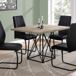 DINING TABLE – 36″X 48″ / TAUPE RECLAIMED WOOD-LOOK/BLACK