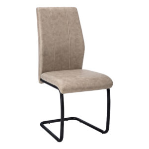 DINING CHAIR – 2PCS / 39″H / TAUPE FABRIC / BLACK METAL