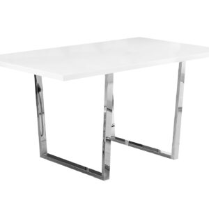 DINING TABLE – 36″X 60″ / WHITE GLOSSY / CHROME METAL