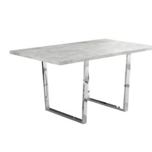 DINING TABLE – 36″X 60″ / GREY CEMENT / CHROME METAL