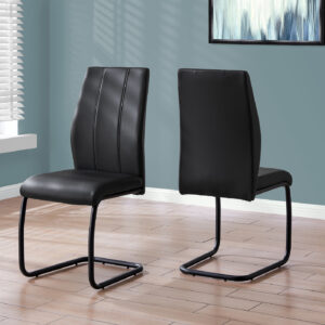DINING CHAIR – 2PCS / 39″H / BLACK LEATHER-LOOK / METAL