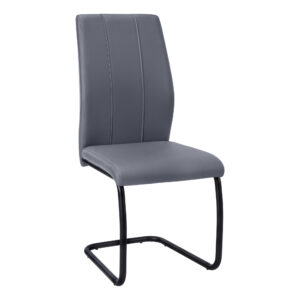 DINING CHAIR – 2PCS / 39″H / GREY LEATHER-LOOK / METAL