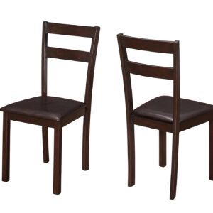 DINING CHAIR – 2PCS / 35″H ESPRESSO / DARK BROWN SEAT