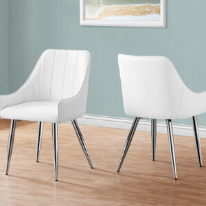 DINING CHAIR – 2PCS / 33″H / WHITE LEATHER-LOOK / CHROME