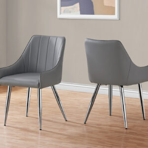 DINING CHAIR – 2PCS / 33″H / GREY LEATHER-LOOK / CHROME