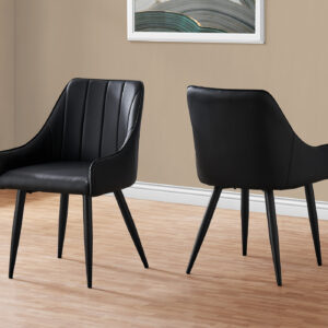 DINING CHAIR – 2PCS / 33″H / BLACK LEATHER-LOOK / BLACK