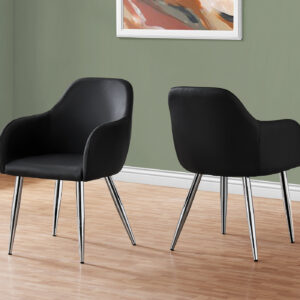 DINING CHAIR – 2PCS / 33″H / BLACK LEATHER-LOOK / CHROME