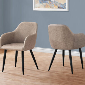 DINING CHAIR – 2PCS / 33″H / TAUPE FABRIC / BLACK METAL