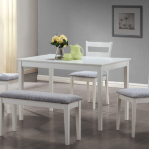 DINING SET – 5PCS SET / WHITE BENCH AND 3 SIDE CHAIRS