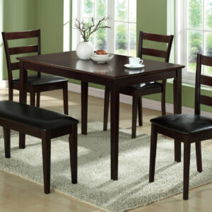DINING SET – 5PCS SET / ESPRESSO BENCH & 3 SIDE CHAIRS