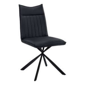 DINING CHAIR – 2PCS / 36″H / BLACK LEATHER-LOOK / BLACK