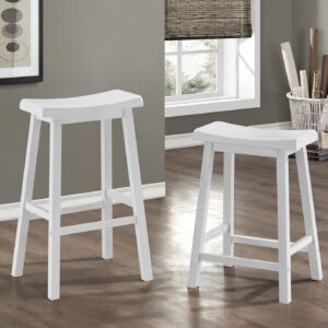 BARSTOOL – 2PCS / 29″H / WHITE SADDLE SEAT