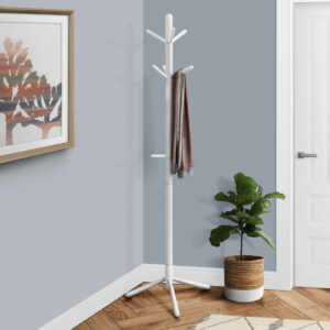 COAT RACK – 69″H / WHITE WOOD CONTEMPORARY STYLE