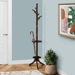COAT RACK – 71″H / DARK CHERRY WITH AN UMBRELLA HOLDER