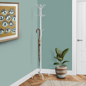 COAT RACK – 70″H / WHITE METAL