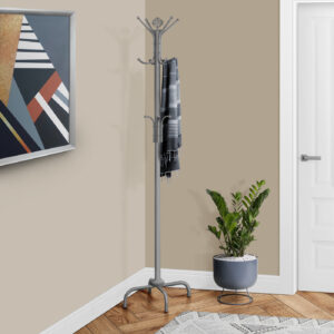COAT RACK – 70″H / SILVER METAL