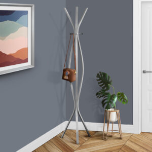 COAT RACK – 72″H / SILVER METAL CONTEMPORARY STYLE