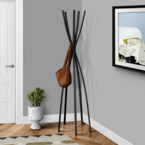 COAT RACK – 72″H / SATIN BLACK METAL CONTEMPORARY STYLE