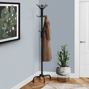 COAT RACK – 70″H / BLACK METAL