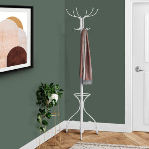 COAT RACK – 70″H / WHITE METAL WITH AN UMBRELLA HOLDER