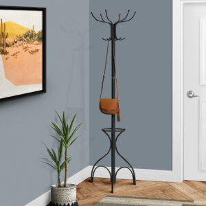 COAT RACK – 70″H / BLACK METAL WITH AN UMBRELLA HOLDER
