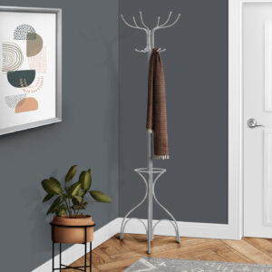 COAT RACK – 70″H / SILVER METAL WITH AN UMBRELLA HOLDER
